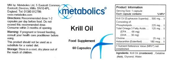 Krill Oil Supplement label