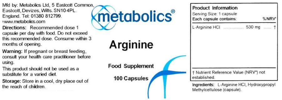 arginine supplement 100 capsules ingredients
