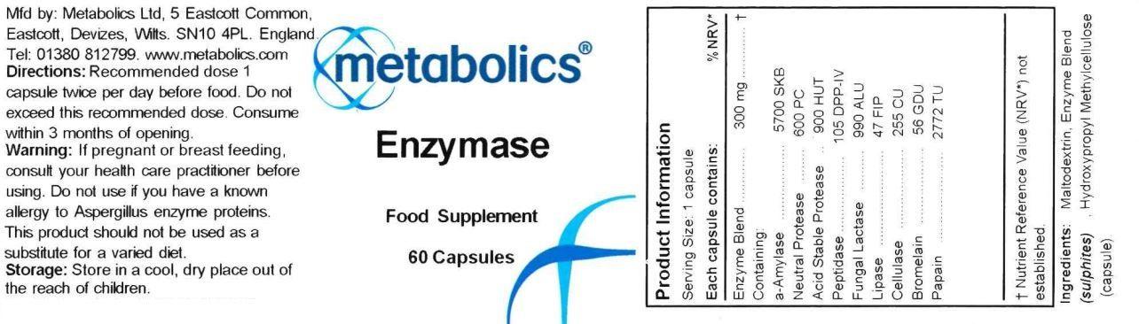 enzymase pot of 60 capsules ingredients