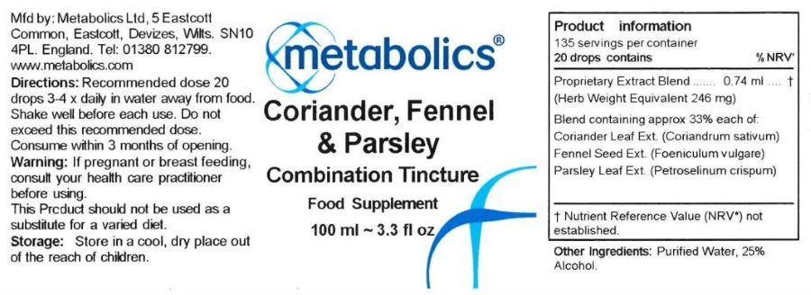 coriander, fennel and parsley supplement ingredients