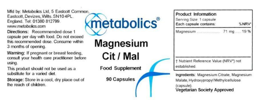 magnesium citrate malate 90 capsules ingredients